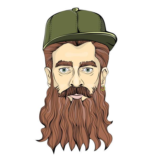 ilustraciones, imágenes clip art, dibujos animados e iconos de stock de hipster-mirando la tapa de hombre con barba larga y el uso de pendientes oro verde sobre un fondo blanco. imagen gráfica de la cabeza. aislados ilustración de vector. - cabello largo