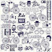 Hipsters and bikes set. School notebook. Vector illustration.