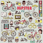 Hipsters and bikes set. Vector illustration.