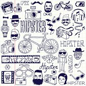 Hipsters doodles set. School notebook. Vector illustration.