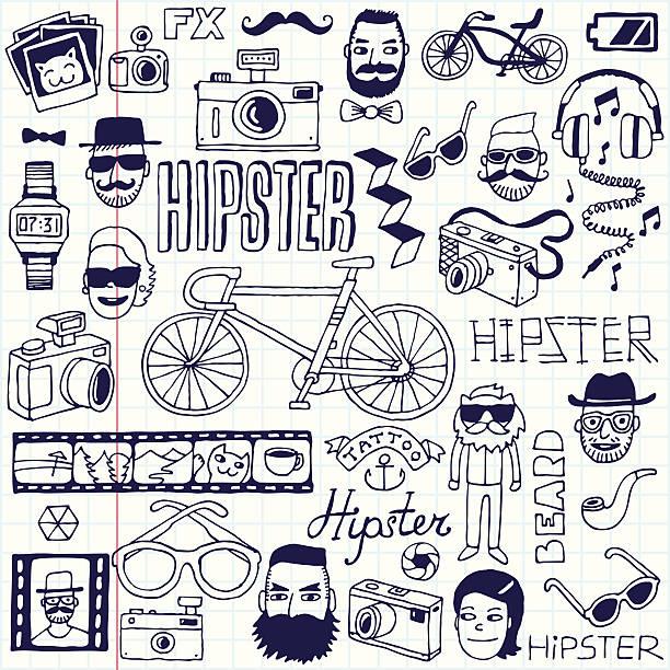 hipsters kritzeleien set.  schule notebook.  vektor-illustration. - lustige fahrrad stock-grafiken, -clipart, -cartoons und -symbole