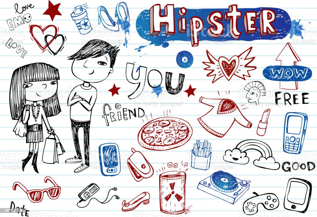 Hipsters hand-drawn doodle set in black, blue and red vector art illustration