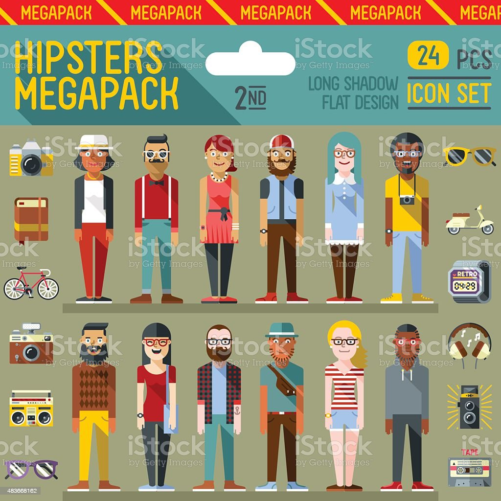 Hipsters megapack. Flat design. Long shadow. Icon set 2nd. vector art illustration