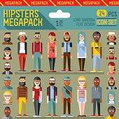 Hipsters megapack. Flat design. Long shadow.