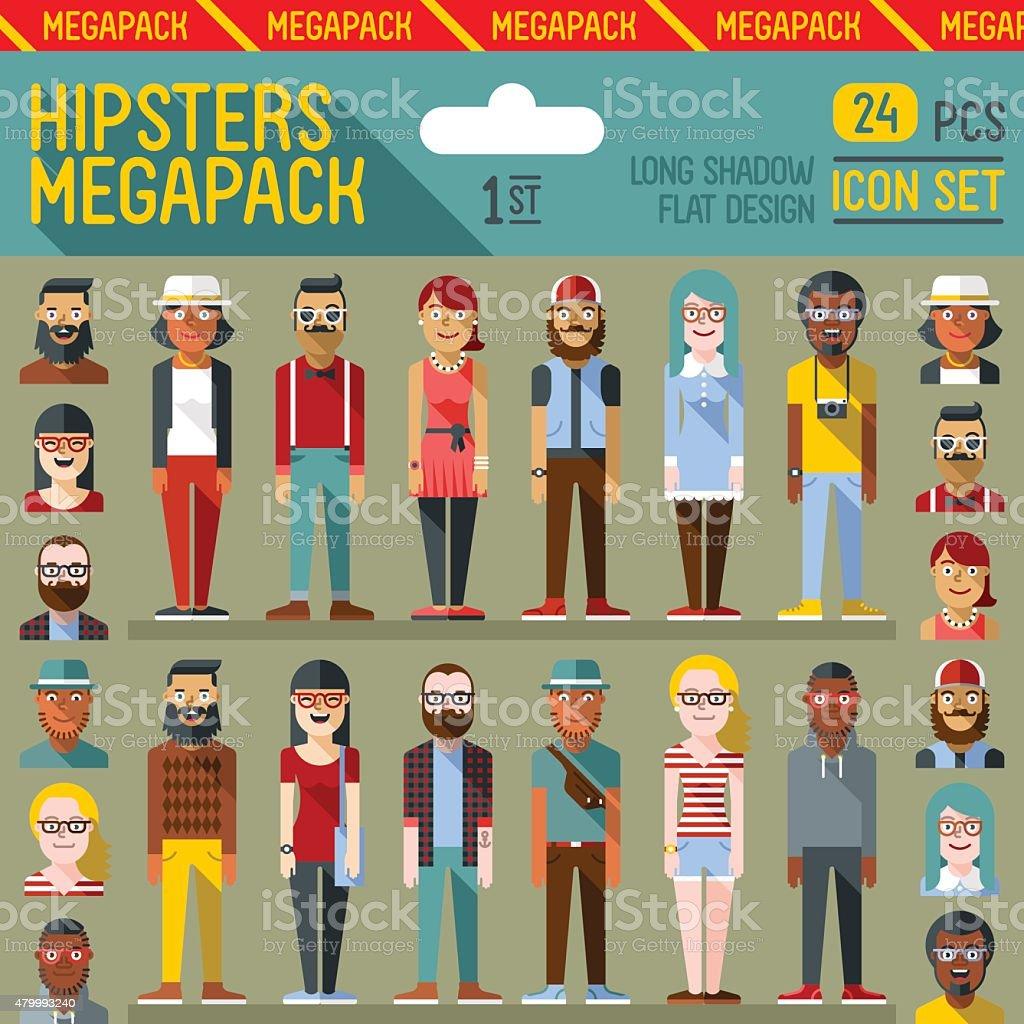 Hipsters megapack. Flat design. Long shadow. vector art illustration