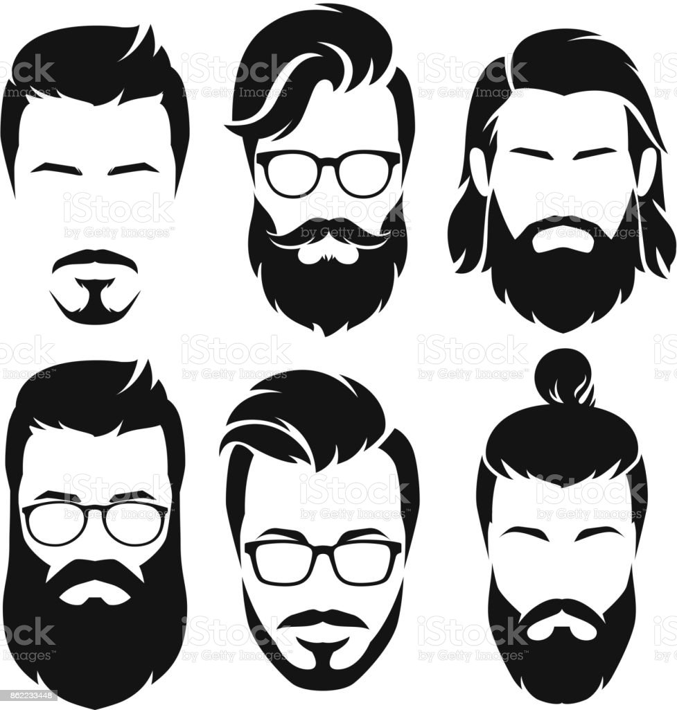 Hipsters men faces collection. vector art illustration