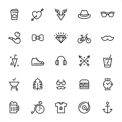 Hipsters - Outline Icon Set