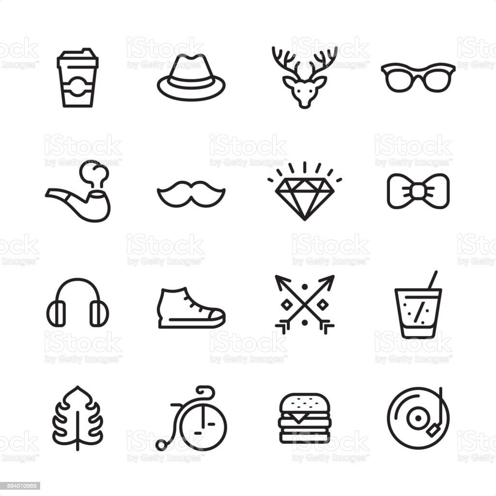 Hipsters - outline icon set vector art illustration