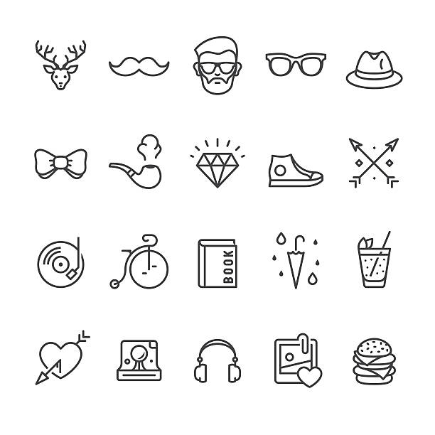 stockillustraties, clipart, cartoons en iconen met hipsters related vector icons - street style