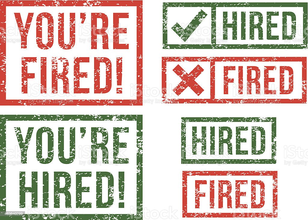 Hired, fired - rubber stamps vector art illustration