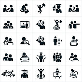 A set of employment related icons. The icons show HR managers hiring, people being hired, job loss, job success, job fair, searching for employment, unemployment, job interview and graduates to name just a few of the employment issues symbolized.