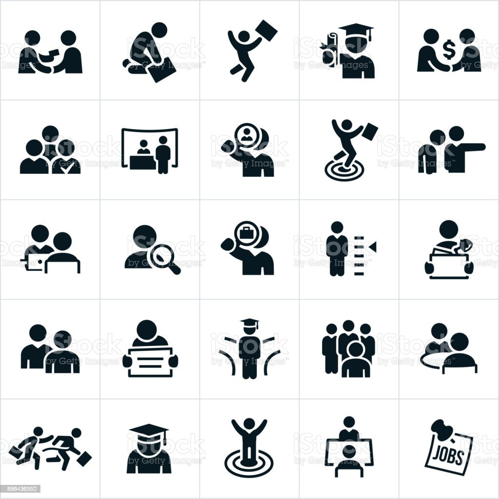 Hiring and Employment Icons vector art illustration