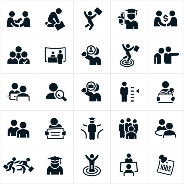 hiring and employment icons - zatrudnienie stock illustrations