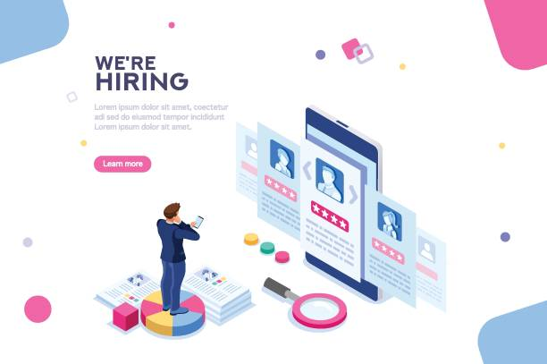Hiring Concept Isometric Vector Social presentation for employment. Infographic for recruiting. Web recruit resources, choice, research or fill form for selection. Application for employee hiring. flat isometric vector illustration. candidate stock illustrations