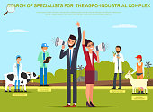 Hiring Farming Worker Flat Vector Banner Template. Cartoon Headhunters Inviting Veterinarian, Livestock Consultant, Agronomist, Animal Technician to Work. Recruiting in Agricultural Industry Poster