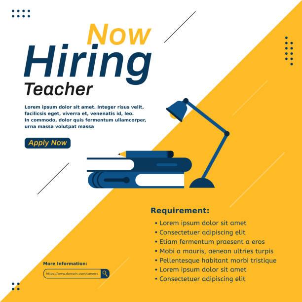 Hiring job template for teacher Modern job vacancy square web banner for social media post mobile apps. Hiring job template for company or coporate teacher appreciation week stock illustrations