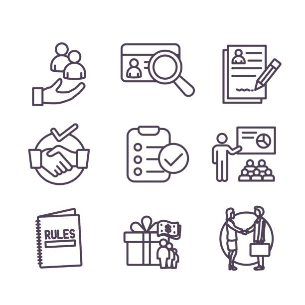 Hiring Process icon set with Benefits, background check, introductions, etc Hiring Process icon set and Benefits, background check, introductions, etc recruiter stock illustrations