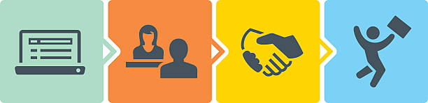 Hiring Process The hiring process from job search/application to job offer. recruiter stock illustrations