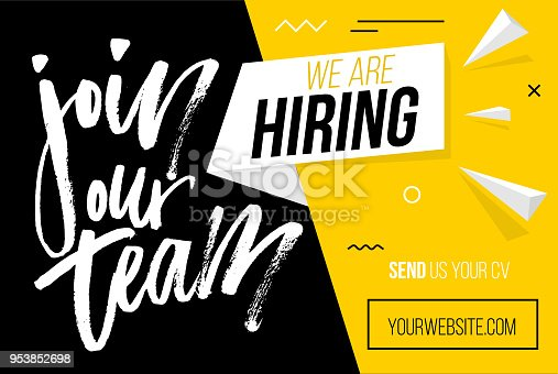 We are hiring brush lettering with geometric shapes. Vector illustration. Open vacancy design template.