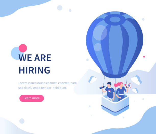 hiring We are hiring concept with character. Can use for web banner, infographics, hero images. Flat isometric vector illustration isolated on white background. military recruit stock illustrations