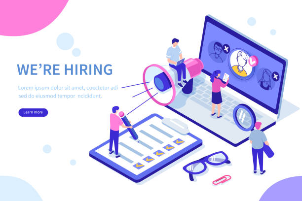 hiring Hiring and recruitment concept with characters. Can use for web banner, infographics, hero images. Flat isometric vector illustration isolated on white background. vacancy stock illustrations