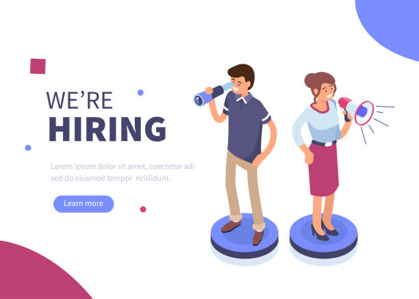 hiring We are hiring concept banner. Can use for web banner, infographics, hero images. Flat isometric vector illustration isolated on white background. military recruit stock illustrations