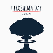 Hiroshima Day, 6 august, nuclear bomb poster, illustration vector
