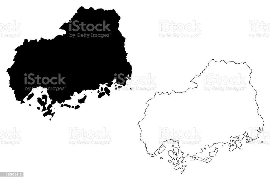 Hiroshima Prefecture Map Vector Stock Vector Art & More ...