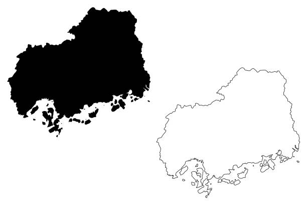 廣島縣地圖向量 - hiroshima 幅插畫檔、美工圖案、卡通及圖標