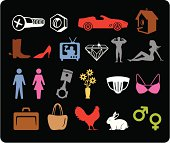 Male and female gender symbols.