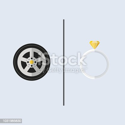 His and her things, a wheel of racing car and yellow gem diamond ring. With simple line divider on plain colour back ground. Square frame.