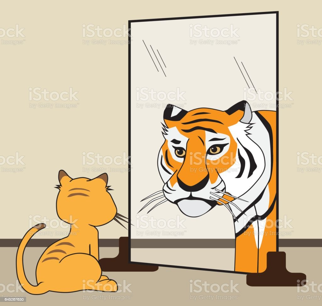His Inner Tiger vector art illustration