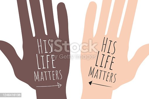 His Life Matters concept. Template for background, banner, poster with text inscription. Vector EPS10 illustration.