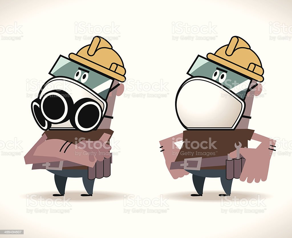 Hispanic Construction Worker with Protective mask vector art illustration