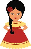 Little Hispanic girl in festive dress with a flower in the hair