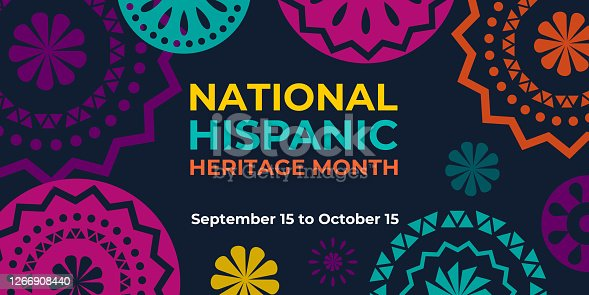 istock Hispanic heritage month. Vector web banner, poster, card for social media and networks. Greeting with national Hispanic heritage month text, Papel Picado pattern, perforated paper on black background. 1266908440
