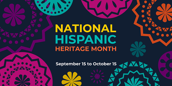 Hispanic heritage month. Vector web banner, poster, card for social media and networks. Greeting with national Hispanic heritage month text, Papel Picado pattern, perforated paper on black background.