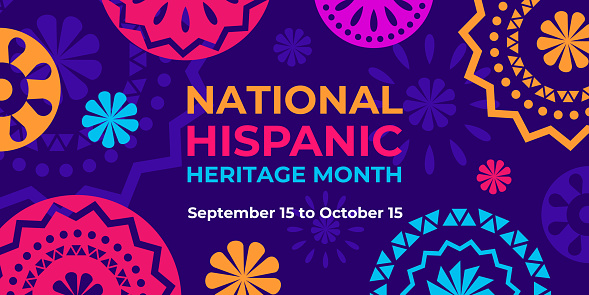 Hispanic heritage month. Vector web banner, poster, card for social media and networks. Greeting with national Hispanic heritage month text, Papel Picado pattern, perforated paper on purple background