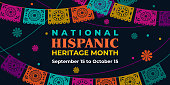 istock Hispanic heritage month. Vector web banner, poster, card for social media, networks. Greeting with national Hispanic heritage month text, Papel Picado pattern, perforated paper on black background. 1318962200