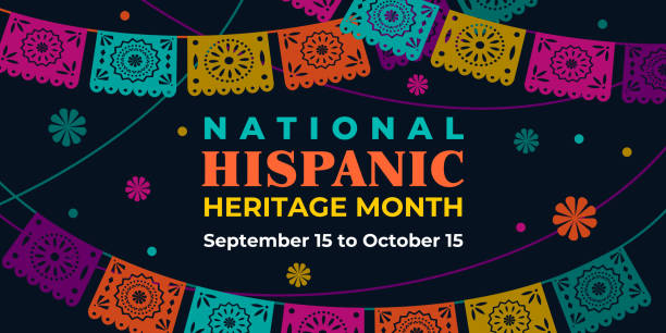 Hispanic heritage month. Vector web banner, poster, card for social media, networks. Greeting with national Hispanic heritage month text, Papel Picado pattern, perforated paper on black background. Hispanic heritage month. Vector web banner, poster, card for social media, networks. Greeting with national Hispanic heritage month text, Papel Picado pattern, perforated paper on black background hispanic heritage month stock illustrations