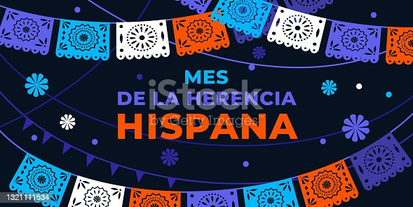 istock Hispanic heritage month. Vector web banner, poster, card for social media, networks. Greeting in Spanish Mes de la herencia hispana text, Papel Picado pattern, perforated paper on black background. 1321111534