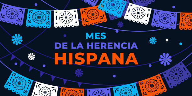 Hispanic heritage month. Vector web banner, poster, card for social media, networks. Greeting in Spanish Mes de la herencia hispana text, Papel Picado pattern, perforated paper on black background. Hispanic heritage month. Vector web banner, poster, card for social media, networks. Greeting in Spanish Mes de la herencia hispana text, Papel Picado pattern, perforated paper on black background hispanic heritage month stock illustrations