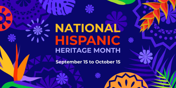 Hispanic heritage month. Vector web banner, poster, card for social media, networks. Greeting with national Hispanic heritage month text, Papel Picado pattern, tropical plants on purple background. Hispanic heritage month. Vector web banner, poster, card for social media, networks. Greeting with national Hispanic heritage month text, Papel Picado pattern, tropical plants on purple background hispanic heritage month stock illustrations