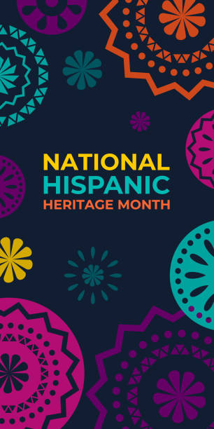 Hispanic heritage month. Vertical vector web banner, poster, card for social media. Greeting with national Hispanic heritage month text, Papel Picado pattern, perforated paper on black background. Hispanic heritage month. Vertical vector web banner, poster, card for social media. Greeting with national Hispanic heritage month text, Papel Picado pattern, perforated paper on black background hispanic heritage month stock illustrations