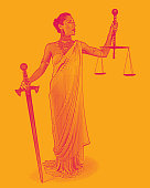 Colorful engraving of a Hispanic Lady Justice holding sword and scales