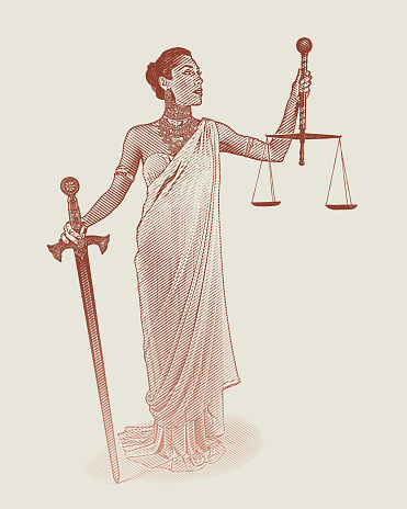 Hispanic Lady Justice holding sword and scales
