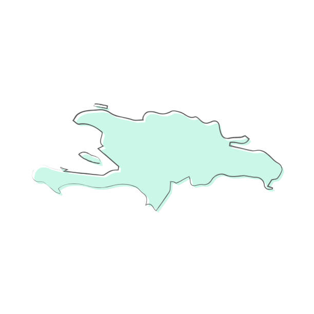 Hispaniola map hand drawn on white background - Trendy design Map of Hispaniola sketched and isolated on a blank background. The map is blue green with a black outline. Vector Illustration (EPS10, well layered and grouped). Easy to edit, manipulate, resize or colorize. drawing of a haiti map stock illustrations