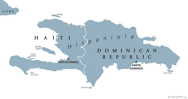Hispaniola political map with Haiti and Dominican Republic Hispaniola political map, also San Domingo. Haiti and Dominican Republic with capitals Port-au-Prince and Santo Domingo, in the Caribbean island group. Gray illustration with English labeling. Vector. haiti stock illustrations