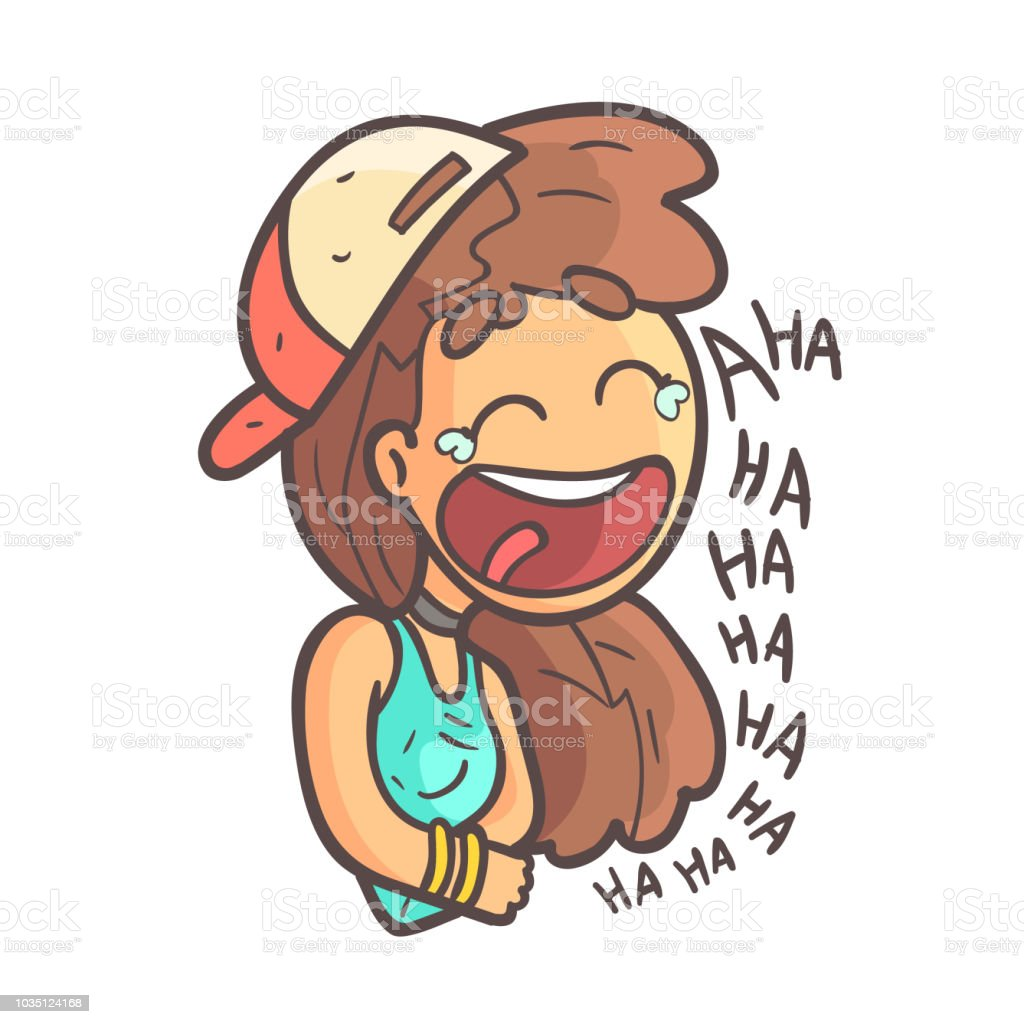 Histerically Laughing Girl In Cap, Choker And Blue Top Hand Drawn Emoji Cool Outlined Portrait vector art illustration