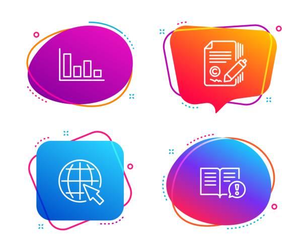 histogramm, copywriting und internet-icons gesetzt. faktenzeichen. wirtschaftlicher trend,-¡ op-signatur, world web. vektor - storytelling grafiken stock-grafiken, -clipart, -cartoons und -symbole